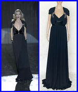 New Black Long Belted Dress Gown With Crystal Embroidery 42 - 8