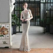 Sexy Party Maxi Dress Deep V Neck Sliver Sequin Beads Sleeveless Polyester Gowns