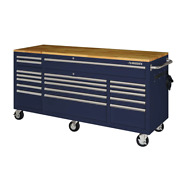 Husky Mobile Workbench 72 In. 18-drawer With Solid Wood Top In Gloss Blue
