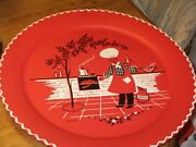 1960and039s Mid Century Mod Stoyke Barbecue Cook Out Scene Metal Serving Party Tray