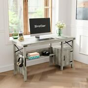 55 Computer Pc Desk With Sheves Cabinet Home Office Farmhouse Table Workstation