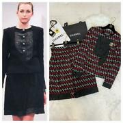 15s Race Tweed Different Material Mix Jacket Skirt Free Shipping No.974