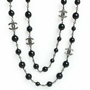 Pearl Coco Mark Shell Long Necklace With Box Free Shipping No.397
