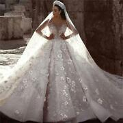 Luxury Beaded Lace Wedding Dress With 3d Floral Design