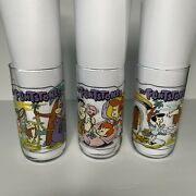Vintage The Flintstones Glass Drinking Cup Hardees Anniversary Cup Set Of 3