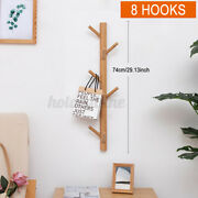 Bamboo 8 Hooks Wooded Wall Mount Hanger Towel Rack For Coat Hat Clothes Racks