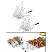 2pcs Stainless Steel Bbq Barbecue Basket Grilling Net Cooking Fish/meat