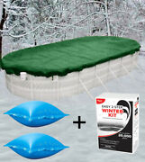 16'x32' Oval Above Ground Winter Pool Cover + 4x4 Air Pillows + Winterizing Kit