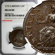 Great Britain George Iii Copper 1772 1/2 Penny Ngc Ms64 Bn Rare Km 601 050