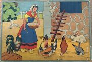 Vintage Farm Animals Boxed Wood Puzzle Cubes 24 Looking For Next Young Owner