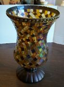 Partylite Global Fusion Glass Mosaic 12 Hurricane Candle Holder See Pics