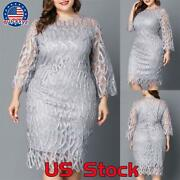 Plus Size Women 3/4 Sleeve Casual Lace Dress Evening Cocktail Party Midi Gown