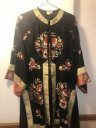 Antique Chinese Black Silk Embroidered Kimono Robe 3pc Set Vest And Pants Floral