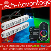 12v 18w Stainless Steel Underwater Rgb Blue/green/red Transom Boat Led Lights