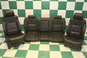 14-19 Gm Truck Crew Black Leather Heated Cooled Seat Set Front Buckets Backseat