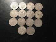 14 German Funf Mark Silver Coins 1875-1913 All Uncleaned Old Collection 1 Lot