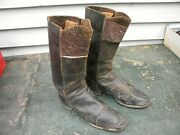 Fantastic Pair 1960and039s Soldier Civil War Artillery Boots Red Tops Morocco Leather