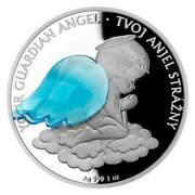 2021 Niue 1 Ounce Silver Crystal Guardian Angel Proof Coin