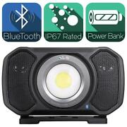 2,000 Lumens Led Rechargeable Bluetooth Audio Work Light With Integrated Power