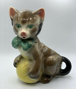 Vintage Mid Century Royal Copley Pottery Cat With Ball Of Yarn Figural Planter