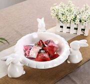 Lovely Rabbit Figurine Candy Plate Dessert Tray Pastry Ornament Home Décor Gift