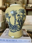 """Formalities By Baum Bros 11 3/4"""" Asian Scene Yellow And Blue Ginger Jar No Lid"""