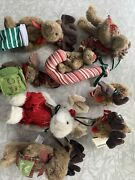 """Boyds Bears Mini Moose Plush 4"""" Lot 8 Ornament Angel Candy Cane Holiday Reindeer"""
