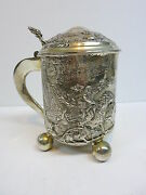 Repoussandeacute Silver German Hunting Stein Tankard Touch Mark Stag Dogs Horse