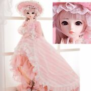 1/3 Bjd Doll Full Set Princess Style Ball Jointed Doll With Flower Decorated Hat