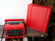 Olivetti Valentine Typewriter With Case Red Rare Vintage Work Made In Spain F/s