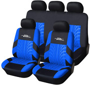 Autoyouth Car Seat Covers Full Set, Front Bucket With Split Blue