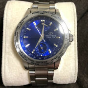Orient Star World Time Watch Analog Mens Blue Face Japan Impot Good Condition