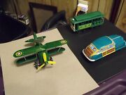 Wind Up And Friction Toys, Lot, Plane, Car, Bus, Cable Car
