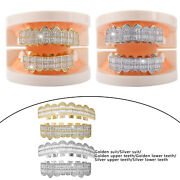 Diamond Teeth Grill Caps Top And Bottom Fangs Costume Cosplay For Men Women