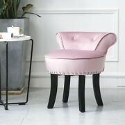 Velvet Makeup Vanity Chair And Stool For Bedroom With Roll Dressing Table