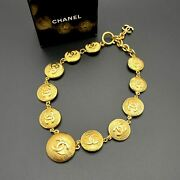 Auth Cc Logos Necklace Gold Vintage From Japan