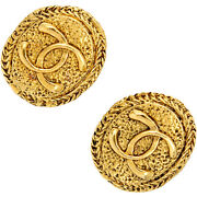 Earring Vintage Coco Mark Round Circle Metal Gold Gp Womenand039s No.8752