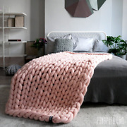 Chunky Knit Blanket 100 Merino Wool Chunky Knit Throw Arm Knitted Blanket Us