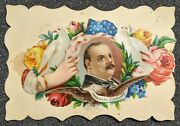 Vintage 1880s Grover Cleveland Us President Decorative Victorian Calling Card