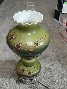 Vintage 1967 Gwtw Hurricane Parlor Table Lamp Green Hand Painted Floral Gim3083