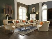 Acme Daesha Accent Chair With Pillow In Antique Gold Finish 50838