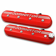Holley 241-121 Aluminum Ls Valve Covers Red Tall Dominator Logo