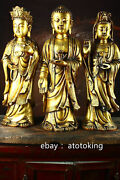 24 China Antique Pure Copper Gilded Three Saints Of The West Buddha Statue