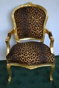 Louis Xv Arm Chair French Style Chair Vintage Furniture Leopard