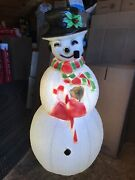 Blow Mold Frosty Snowman Red And Green Scarf Holly Berries Pipe Union Products
