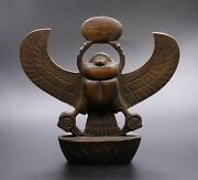 Rare Egyptian Antiques Winged Scarab Brown Carved Stone Egypt Bc