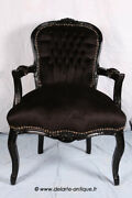 Louis Xv Arm Chair French Style Chair Vintage Furniture Black Velvet