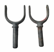 2x Vintage Cast Iron Row Boat Oar Guide Horn Brackets With 2 Pin Hole No Pinsh