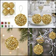 4pc Set Gold Shatterproof Christmas Decorations Tree Balls For Xmas 4.25 Gold