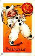 Vintage Stecher Litho Company Clown With Jol Antique Halloween Postcard Wow